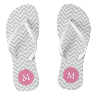 Gray and Pink Chevrons Monogrammed Flip Flops