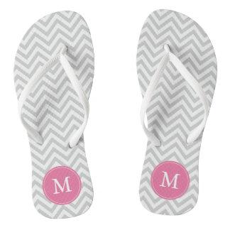 Gray and Pink Chevrons Monogrammed Flip Flops