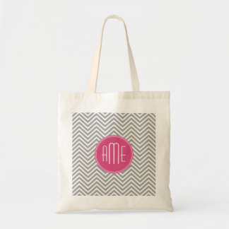 Gray and Pink Chevrons with Custom Monogram Budget Tote Bag