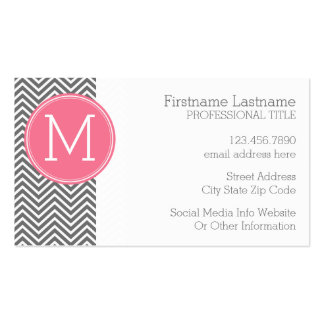 Gray and Pink Chevrons with Custom Monogram Business Card