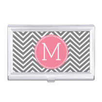 Gray and Pink Chevrons with Custom Monogram Business Card Holder