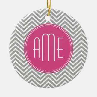 Gray and Pink Chevrons with Custom Monogram Ceramic Ornament