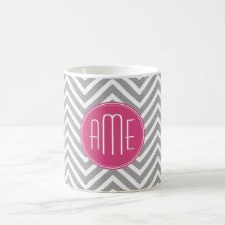 Gray and Pink Chevrons with Custom Monogram Coffee Mug