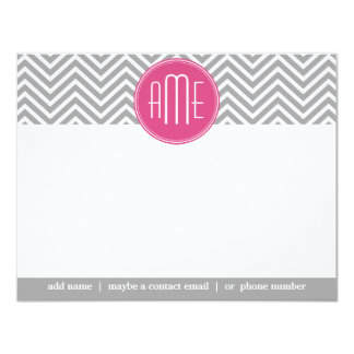 Gray and Pink Chevrons with Custom Monogram 4.25x5.5 Paper Invitation Card