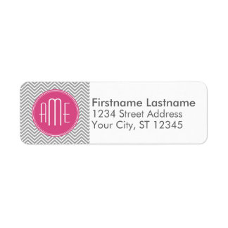 Gray and Pink Chevrons with Custom Monogram Labels