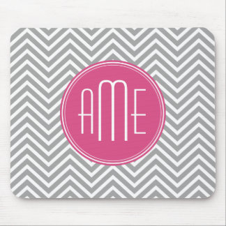 Gray and Pink Chevrons with Custom Monogram Mouse Pad