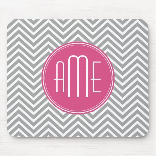 Gray and Pink Chevrons with Custom Monogram Mouse Pads