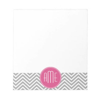Gray and Pink Chevrons with Custom Monogram Scratch Pad