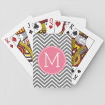 "Gray and Pink Chevrons with Custom Monogram Playing Cards<br><div class=""desc"">A preppy design in fresh,  cheerful colors. If you need to adjust the monograms,  click on the customize it button and make changes.</div>"