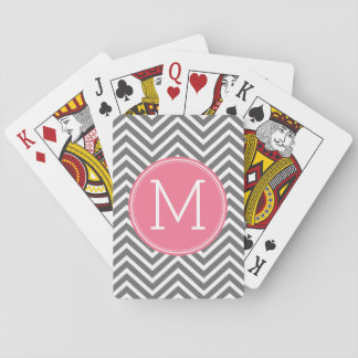 Gray and Pink Chevrons with Custom Monogram Playing Cards