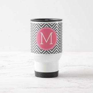Gray and Pink Chevrons with Custom Monogram Travel Mug