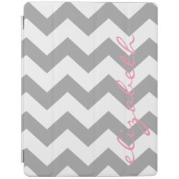 Gray and Pink Chevrons with Custom Name iPad Smart Cover