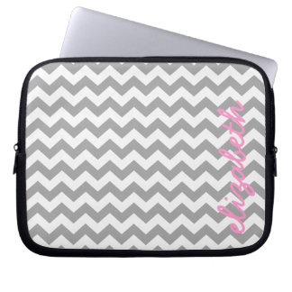 Gray and Pink Chevrons with Custom Name Laptop Sleeve