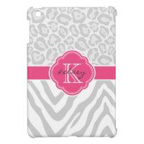 Gray and Pink Chic Animal Print Custom Monogram iPad Mini Case