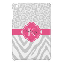 Gray and Pink Chic Animal Print Custom Monogram iPad Mini Cover