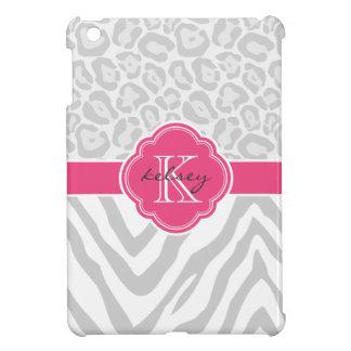 Gray and Pink Chic Animal Print Custom Monogram iPad Mini Cover