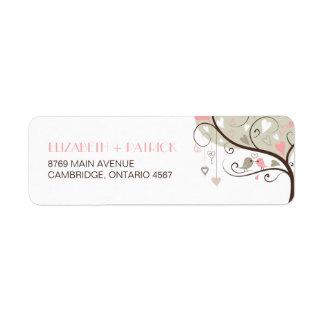 Gray and Pink Cute Lovebirds Wedding Address Label