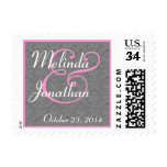 GRAY and PINK Damask Bride and Groom Wedding Stamps
