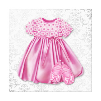 Gray and Pink Damask Dress Pink Dress Baby Girl Canvas Print