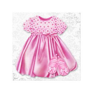 Gray and Pink Damask Dress Pink Dress Baby Girl Canvas Print
