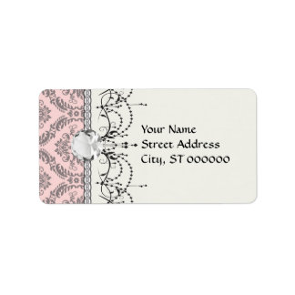 gray and pink damask pattern label