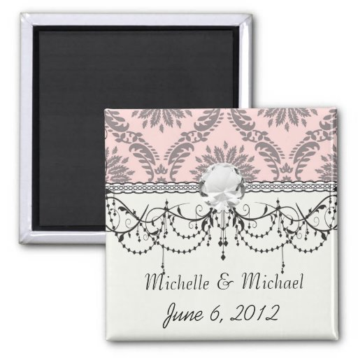 gray and pink damask pattern refrigerator magnet