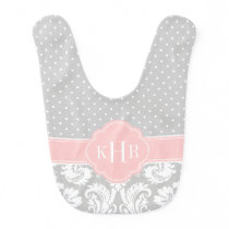 Gray and Pink Damask Polka Dots Monogram Bib