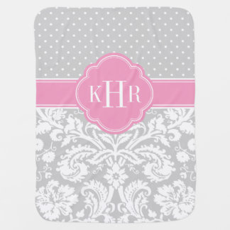 Gray and Pink Damask Polka Dots Monogram Stroller Blanket