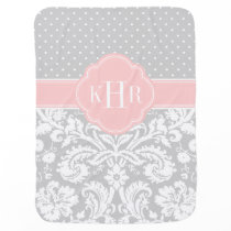 Gray and Pink Damask Polka Dots Monogram Swaddle Blanket