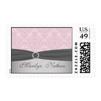 Gray and Pink Damask Postage