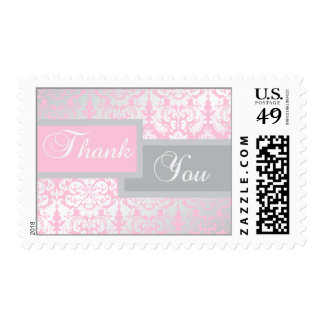 Gray and Pink Damask Thank You Postage