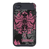 Gray and Pink Elegant Damask Cases For iPhone 4