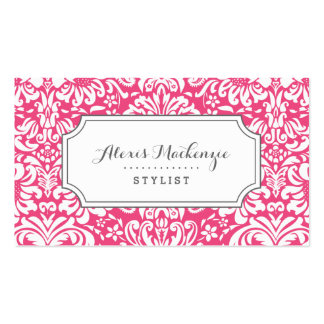 Gray and Pink Floral Damask Double-Sided Standard Business Cards (Pack Of 100)
