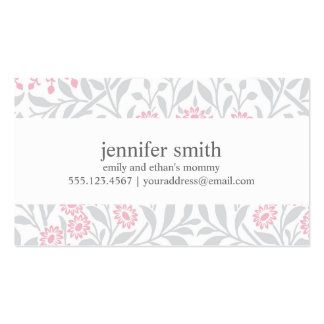 Gray and Pink Floral Damask Pattern Double-Sided Standard Business Cards (Pack Of 100)