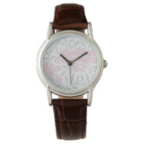 Gray and Pink Floral Damask Pattern Wristwatch
