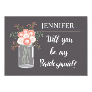 gray and pink floral will you be my bridesmaid? 5x7 paper invitation card