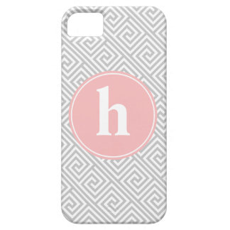Gray and Pink Greek Key Pattern Monogram iPhone SE/5/5s Case