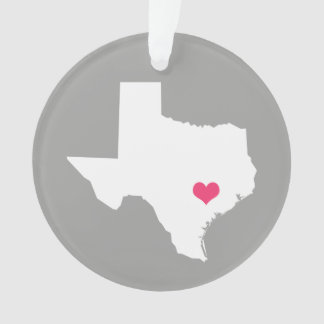 Gray and Pink Heart Texas Home State Ornament