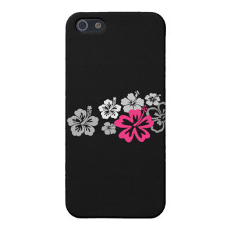 Gray and Pink Hibiscus designs Cover For iPhone SE/5/5s