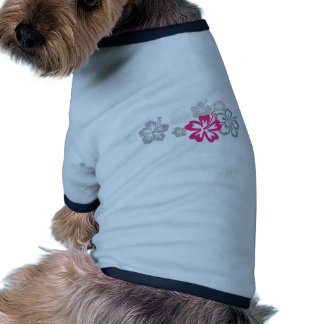 Gray and Pink Hibiscus designs Dog Tee Shirt
