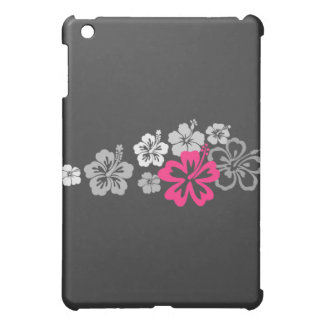Gray and Pink Hibiscus designs iPad Mini Covers