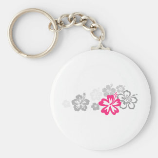 Gray and Pink Hibiscus designs Key Chains