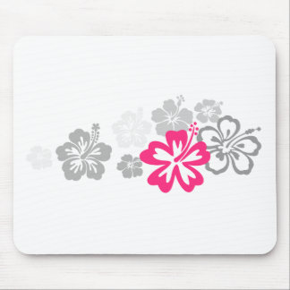 Gray and Pink Hibiscus designs Mouse Pad