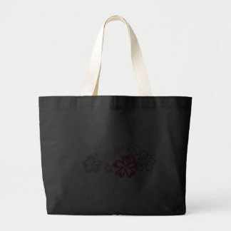 Gray and Pink Hibiscus designs Tote Bags