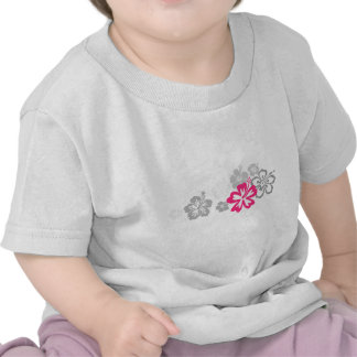 Gray and Pink Hibiscus designs Tshirt