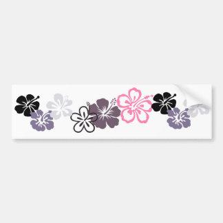 gray and pink hibiscus Hawaiian  theme Bumper Sticker