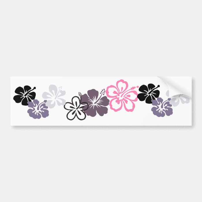 gray and pink hibiscus Hawaiian  theme Bumper Sticker