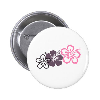 gray and pink hibiscus Hawaiian  theme Button