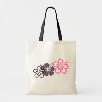 gray and pink hibiscus Hawaiian  theme Canvas Bags