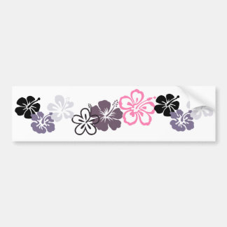 gray and pink hibiscus Hawaiian  theme Car Bumper Sticker